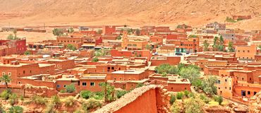 Panoramic view of Ouarzazate - door of the desert in Morocco royalty free stock photography