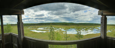 Panoramic view out of bird watching tower at Vaejtjaernen in Vaermland, Sweden Royalty Free Stock Images