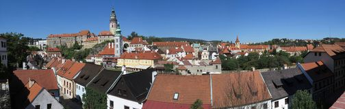 Panoramic view over Český Krumlov - Krumau, Czech Republic royalty free stock images
