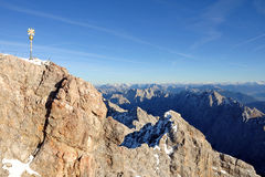Panoramic view over the Alps from the Zugspitze Royalty Free Stock Photography