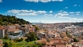 Sao Jorge Castle and Baixa Panoramic Royalty Free Stock Image
