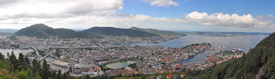 Panoramic view over bergen, norway Royalty Free Stock Photos
