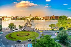 Panoramic View over Budapest and the river Danube stock photos