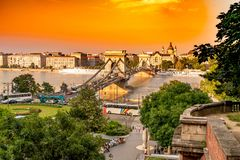 Panoramic View over Budapest and the river Danube royalty free stock images