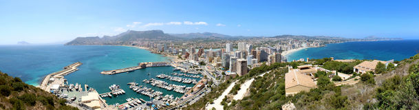 Panoramic view over Calp (Spain) Royalty Free Stock Images