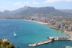 Panoramic view over Calp (Spain) Royalty Free Stock Photo