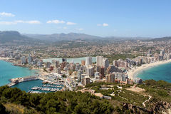 Panoramic view over Calp (Spain) Royalty Free Stock Photography