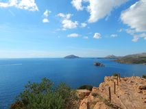 Panoramic view over Cape Sounion, Attica, Greece Stock Photo