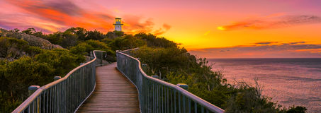 Panoramic view over Cape Tourville Lighthouse at sunrise Royalty Free Stock Photo