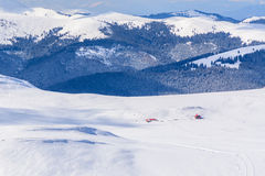 Panoramic view over Carpathian Mountains in wintertime.  Winter Royalty Free Stock Photos