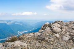 Panoramic view over the Carpatian mountains and Sinaia town, Buc Stock Photos