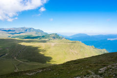 Panoramic view over the Carpatian mountains, walking paths and b Royalty Free Stock Image