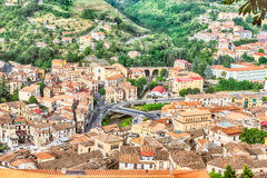 Panoramic view over the city of Cosenza and the Crathis River Stock Photo