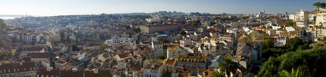 Panoramic view over the city of Lisbon Royalty Free Stock Photography