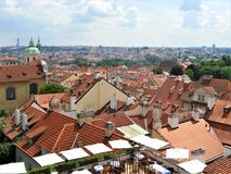 Panoramic view over the city of Prague from the castle hill stock photos