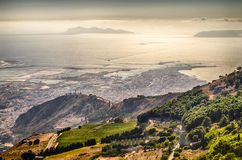 Panoramic View over the city of Trapani and Aegadian Islands, Si Royalty Free Stock Image