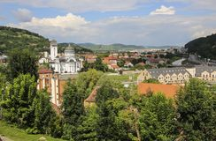 Panoramic view over the cityscape and roof architecture in Sighisoara, medieval town of Transylvania, Romania royalty free stock image