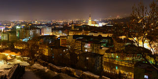 Panoramic view over Cluj. Beautiful night panorama over the city of Cluj stock photography