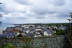 Panoramic view over the coast line and village Saint Cast Le Guildo Brittany France Europe stock photo