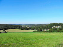Panoramic view over fields and meadows Stock Photography