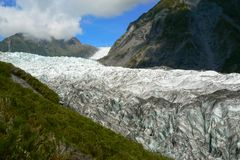Panoramic view over Fox Glacier, South Island, New Zealand. Incredible beautiful panoramic view over snow and ice at Fox Glacier, South Island, New Zealand stock photos