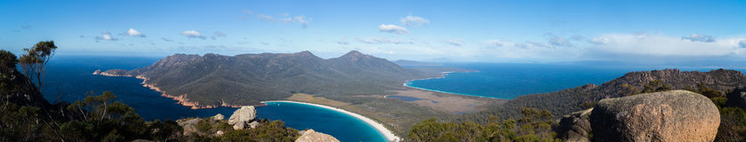 Panoramic view over Freycinet NP and Wineglass Bay from the top of Mt Amos. Panoramic view over the Freycinet Peninsula looking towards Wineglass Bay from the stock photos
