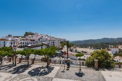 Panoramic view over Frigiliana village, Malaga, Spain Stock Photo