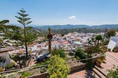 Panoramic view over Frigiliana village, Malaga, Spain Stock Photos