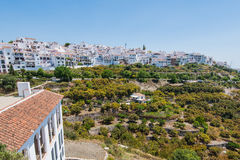 Panoramic view over Frigiliana white village,Spain Royalty Free Stock Photography