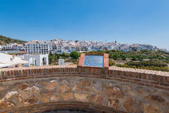Panoramic view over Frigiliana white village,Spain Royalty Free Stock Photos
