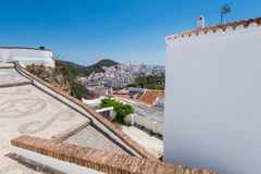 Panoramic view over Frigiliana white village,Spain Stock Image