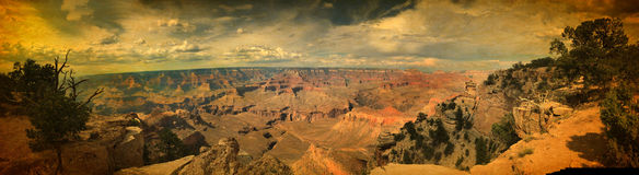Panoramic view over Grand Canyon mountains vintage. Astonishing panoramic view over Grand Canyon mountains south rim in vintage image style Stock Images