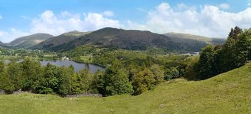Panoramic view over Grasmere Royalty Free Stock Images