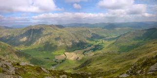 Panoramic view over Great Langdale, Lake District Royalty Free Stock Image