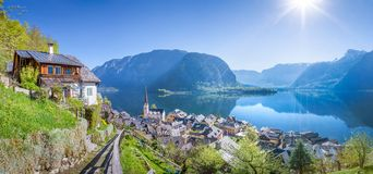 Panoramic view over Hallstatt, Salzkammergut, Austria Royalty Free Stock Photography