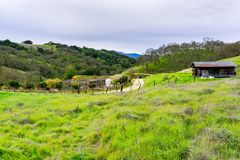 Panoramic view over the hills and valley of Coyote Valley Open Space Preserve, Morgan Hill, south San Francisco bay area, stock images