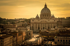 Panoramic view over the historic center of Rome, Italy from Castel Sant Angelo. Rome rooftop view with ancient architecture in Italy at sunset.Panoramic view stock photography