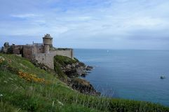 Panoramic view over the historic Fort La Latte at Cap Frehel Brittany France Europe stock images