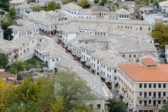Panoramic view over the historical city center of Gjirokastra, Albania royalty free stock images