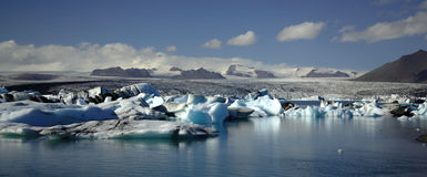 Panoramic view over hundreds of icebergs Royalty Free Stock Photography