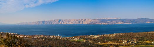 Panoramic view over the island of Krk stock photo