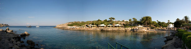 Panoramic view over Kallithea Bay on greek island Rhodes Royalty Free Stock Photography