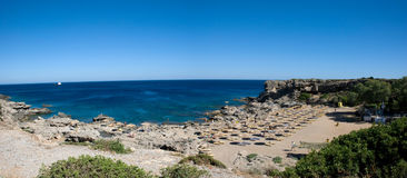 Panoramic view over Kallithea Beach on greek island Rhodes Royalty Free Stock Photo