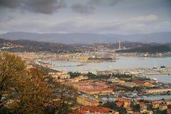 Panoramic view over the La Spezia marina stock photos