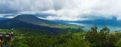 Panoramic view over Lake Batur and volcano near Kintamani village, Bali Stock Photography