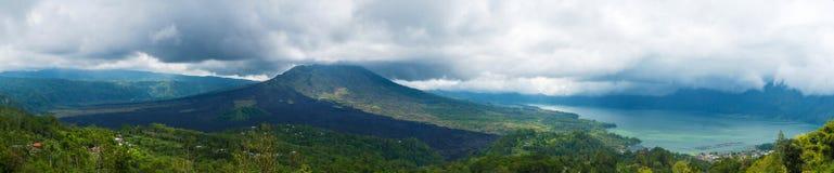 Panoramic view over Lake Batur and volcano near Kintamani village, Bali Royalty Free Stock Photo