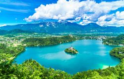 Panoramic View over beautiful lake Bled in Slovenia royalty free stock images