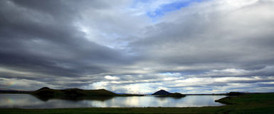 Panoramic View Over Lake Myvatn Iceland Stock Photos