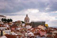 Panoramic view over Lisbon stock images