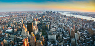 Panoramic view over lower Manhattan New York. Aerial panoramic wide angle view over lower Manhattan, New York from Empire State building top at sunset in 2007 Royalty Free Stock Photo